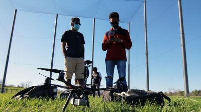 Students prepare for a drone launch at the Virginia Tech Drone Park.